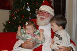 Gracie not very happy with santa